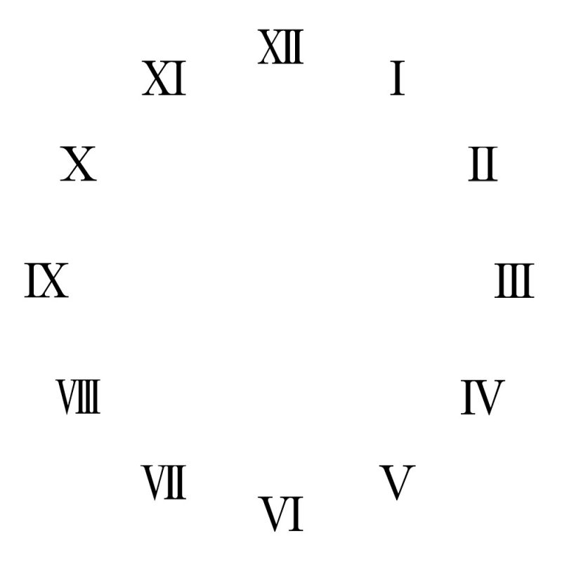 1-12 Roman Numerals Clock Face Learning Printable - roman numeral chart template