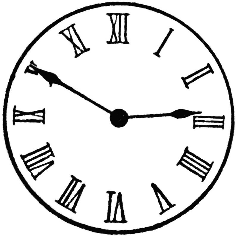 1-12 Roman Numerals Clock Face Learning Printable - clock templates