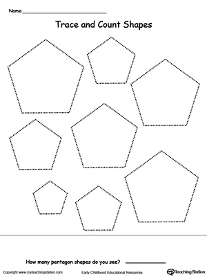 Trace and Count Pentagon Shapes MyTeachingStation