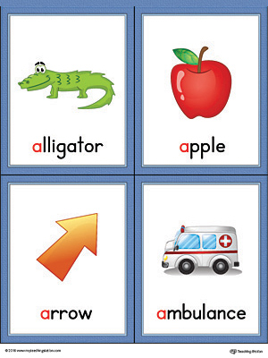 Letter A Words and Pictures Printable Cards Ant, Anteater