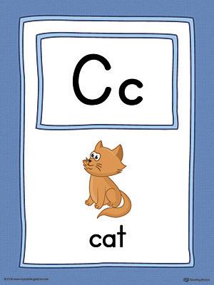 Letter C Large Alphabet Picture Card Printable (Color
