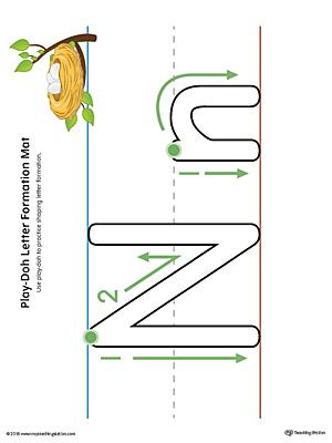 Letter Formation Play-Doh Mat Letter N Printable (Color