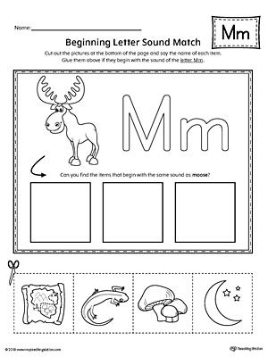Letter M Beginning Sound Picture Match Worksheet MyTeachingStation