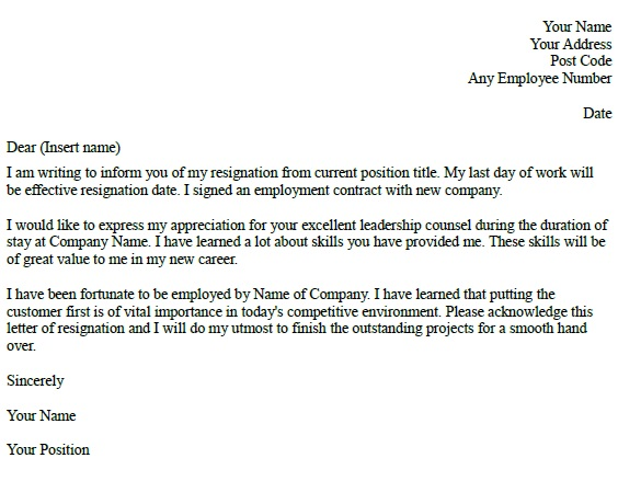 Resignation Letter Example - Learnistorg