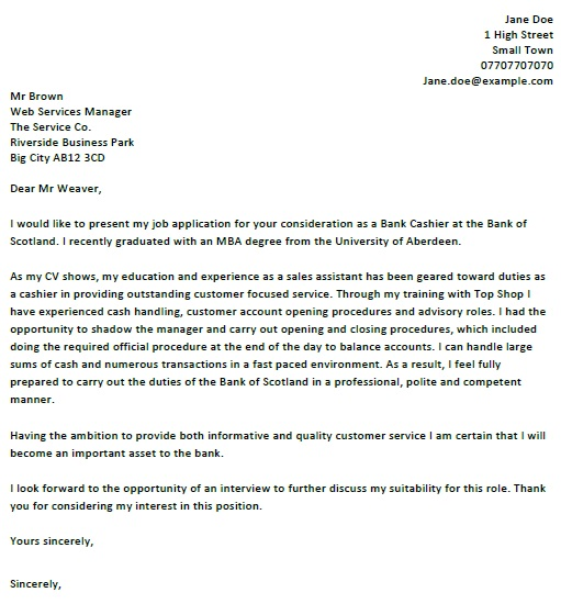 Job Application Letter As A Cashier - Professional Cashier Cover