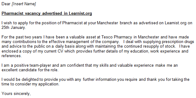 pharmacist cover letter templates