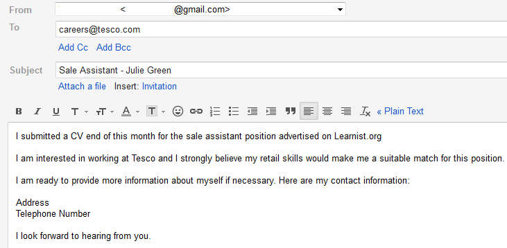 Job Application Email - livmoore.tk