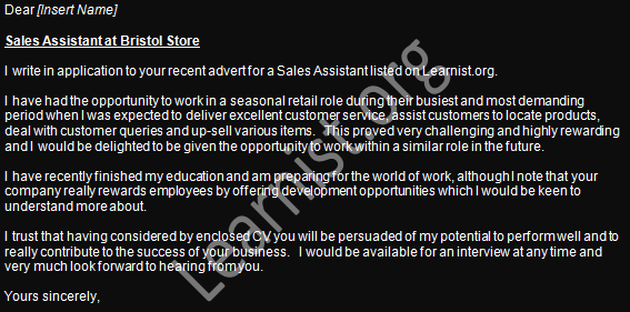 sale assistant job application cover letter example