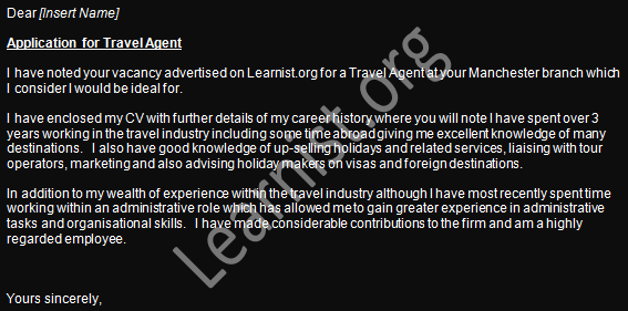 travel agent job application cover letter example