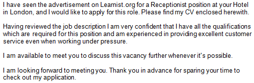 hotel job application cover letter example