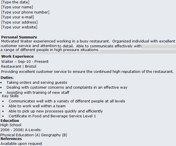 Waitress Resume Description waitress responsibilities resume – Waitress Resume Example