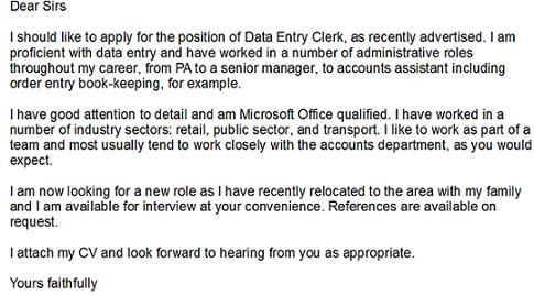 Data Entry Clerk Cover Letter Example - Learnistorg