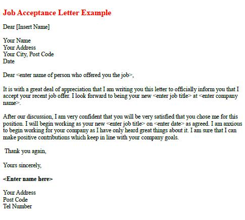 Job Acceptance Letter Example - Learnistorg