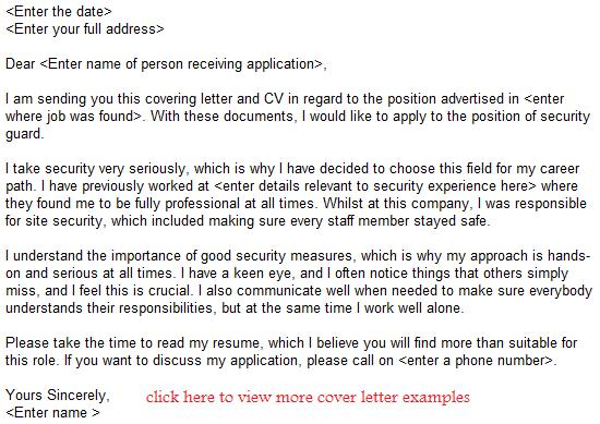 Security Guard Job Application Letter Example - Learnistorg - Job Application
