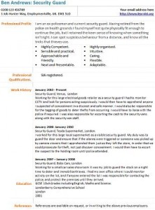 Security Guard Resume Best Sample Resume Security Guard Cv Example Learnistorg