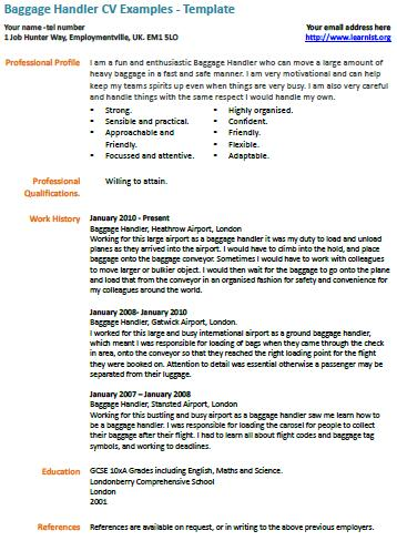 baggage handler cv exle learnist org
