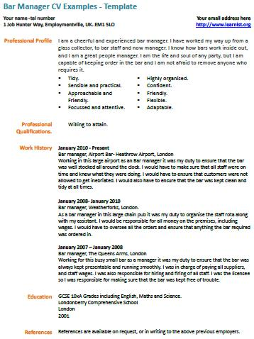 Cv Examples Uk Bar Staff Cv Examples Free And Fully Editable Cv Templates Bar Manager Cv Example Learnistorg