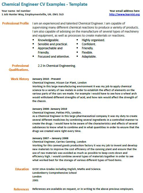 Cv Examples Chemical Engineering - Chemical Engineer CV Example