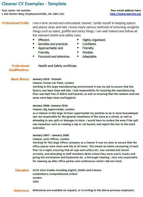 restaurant cleaner resume sample