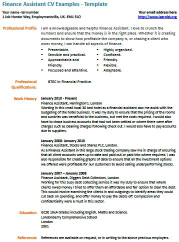 Finance Assistant CV Example - Learnistorg