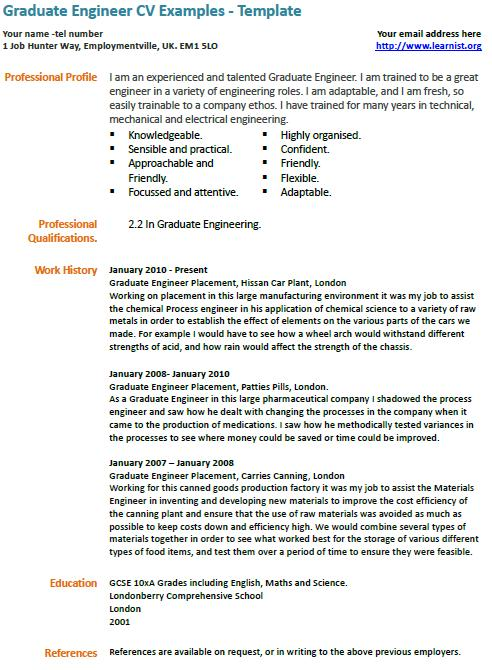 Graduate Engineer CV Example - Learnistorg - Engineering Cv