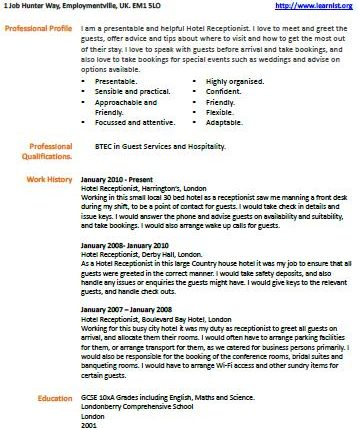 Hotel Receptionist cv example - Learnistorg