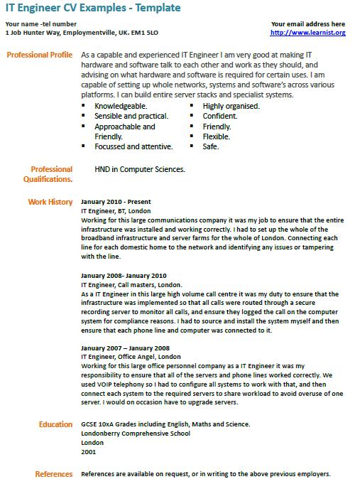 IT Engineer CV Example - Learnist.org