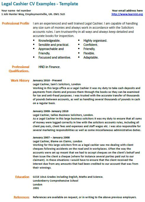 Legal Cashier Cv Example Learnist Org