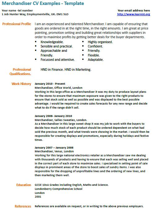 sample visual merchandiser cv format