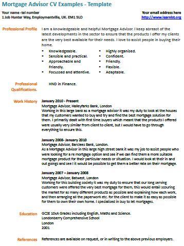 mortgage advisor cv - Alannoscrapleftbehind