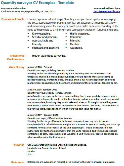 Job Description Sample For Quantity Surveyor Resume Pdf Download
