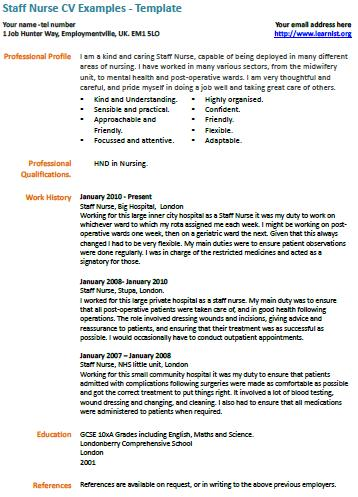 staff nurse cv template - Ozilalmanoof - nurse cv template