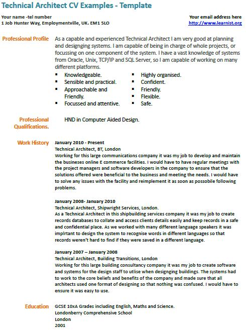 senior architect cv example