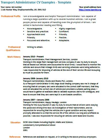 Transport Administrator CV Example - Learnistorg - example cv