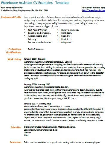 Warehouse Assistant CV Example - Learnistorg