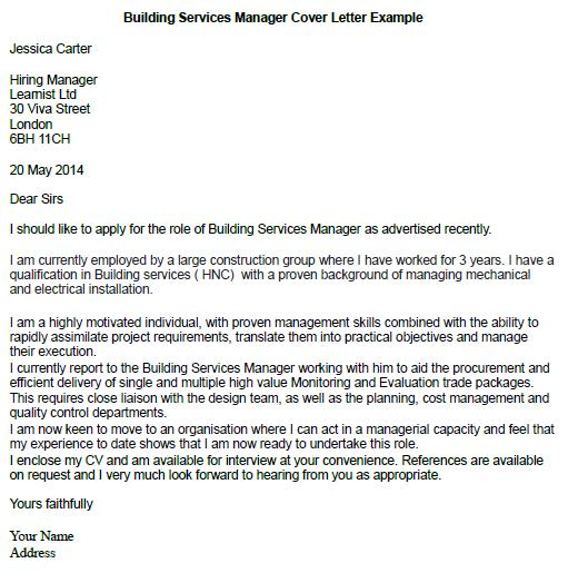 Building Services Manager Cover Letter Example - Learnistorg