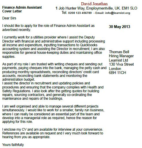 Finance Admin Assistant Cover Letter Example - Learnistorg