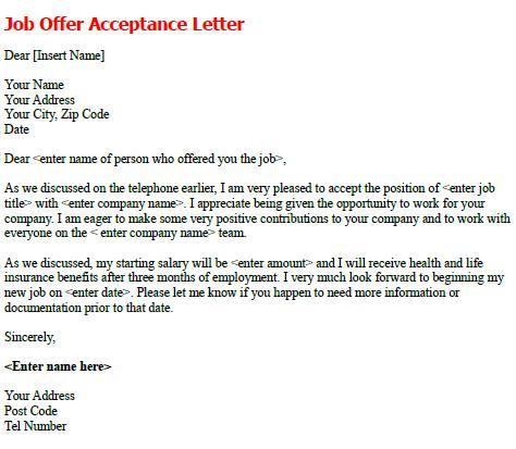Job Offer Acceptance Letter Sample - forumslearnistorg - employment offer letters