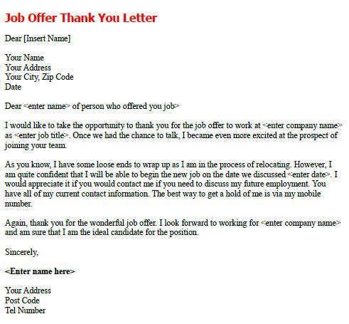 Sample Thank You Letter After Accepting Job Offer - Thank You ...