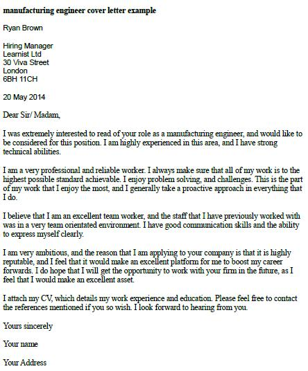 Manufacturing Engineer Cover Letter Example - Learnistorg