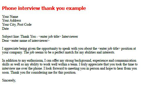 Phone interview thank you note sample - forumslearnistorg - post interview thank you letters