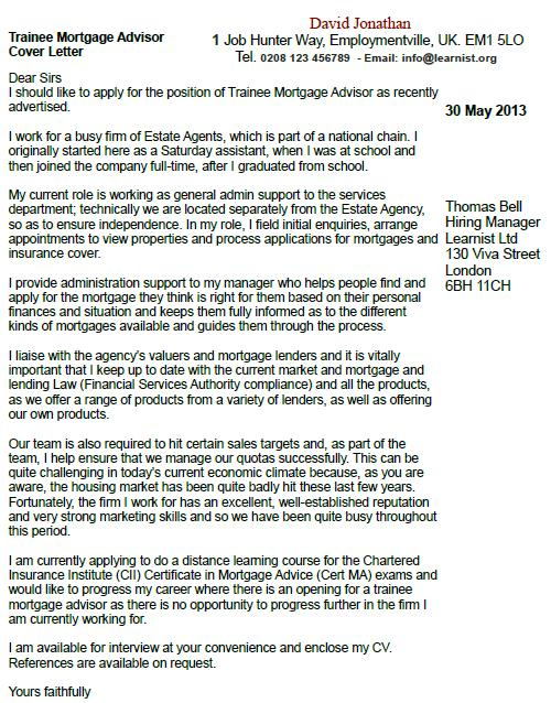 Trainee Mortgage Advisor Cover Letter Example - Learnistorg