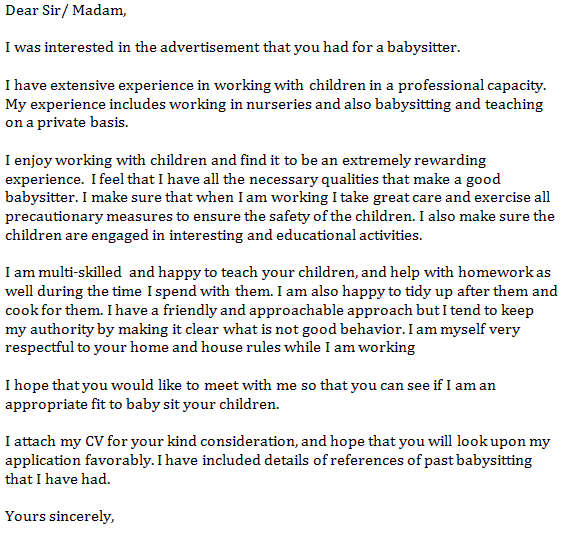 application for babysitter
