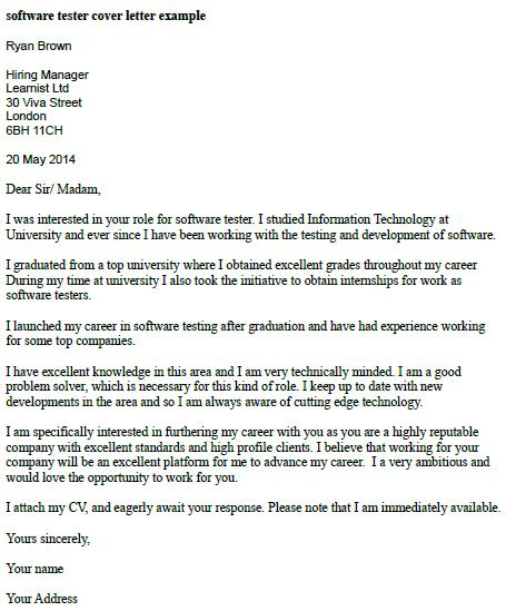software tester cover letter - Hatch.urbanskript.co