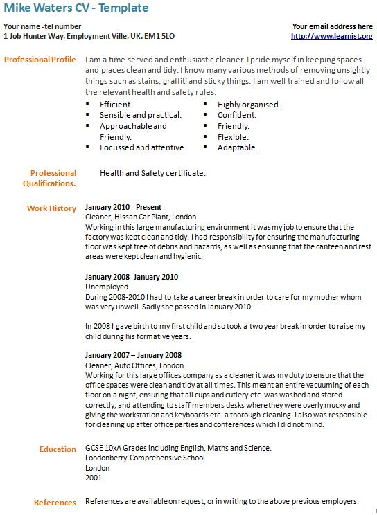 Career Break CV Example - Template in CV Examples - Page 1 of 1