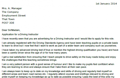 Application Letter For Driving Instructor. SaveEnlarge