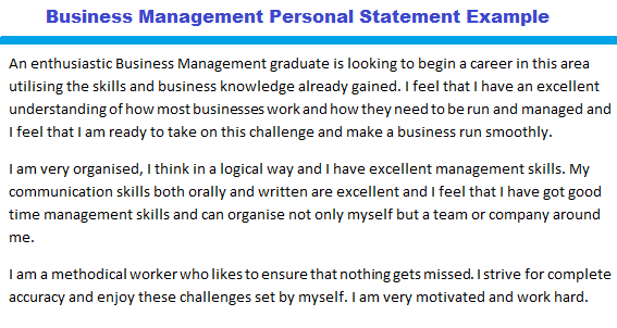 cv personal statement for business management