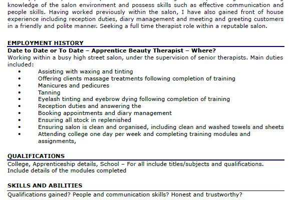 beauty therapist resume sample