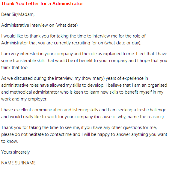 Thank You Letter After Interview Administrative Assistant Position