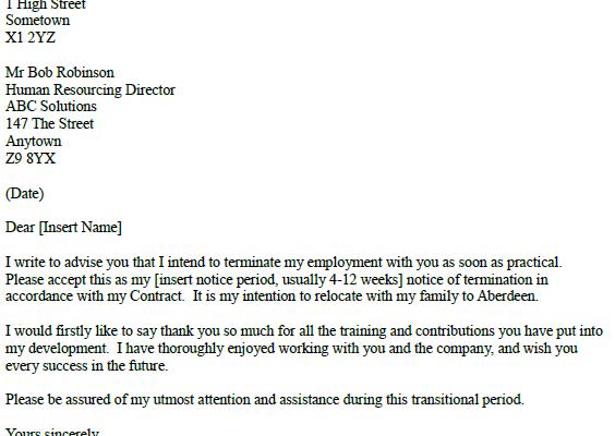 Career Change Resignation Letter – Resignation Letter Due to Relocation